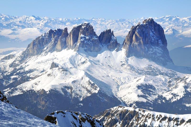 马尔莫拉达山滑雪胜地在意大利 免版税图库摄影
