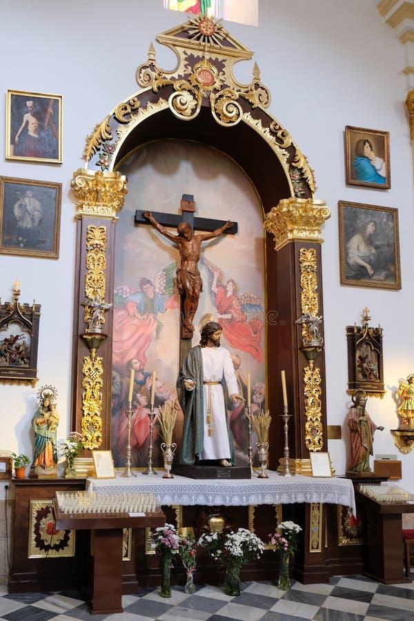 马尔韦利亚, ANDALUCIA/SPAIN - 7月6日:基督雕象储的 图库摄影