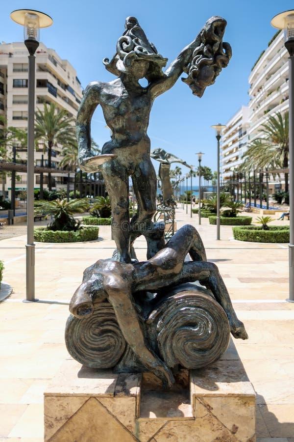 马尔韦利亚, ANDALUCIA/SPAIN - 5月23日:Perseo雕象大理在Ma 免版税图库摄影