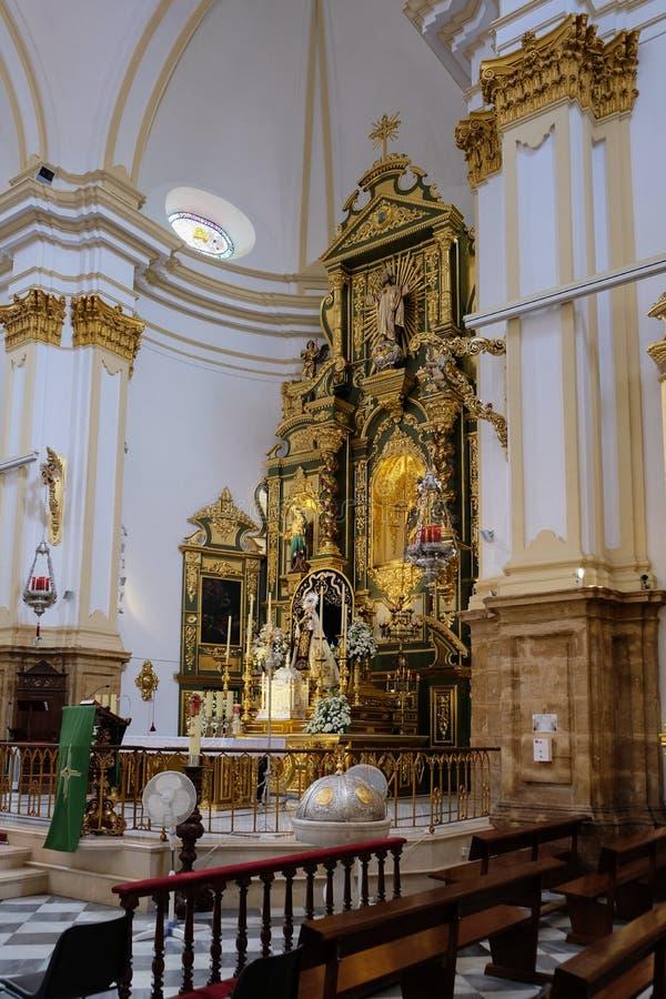 马尔韦利亚, ANDALUCIA/SPAIN - 7月6日:t教会的内部  图库摄影