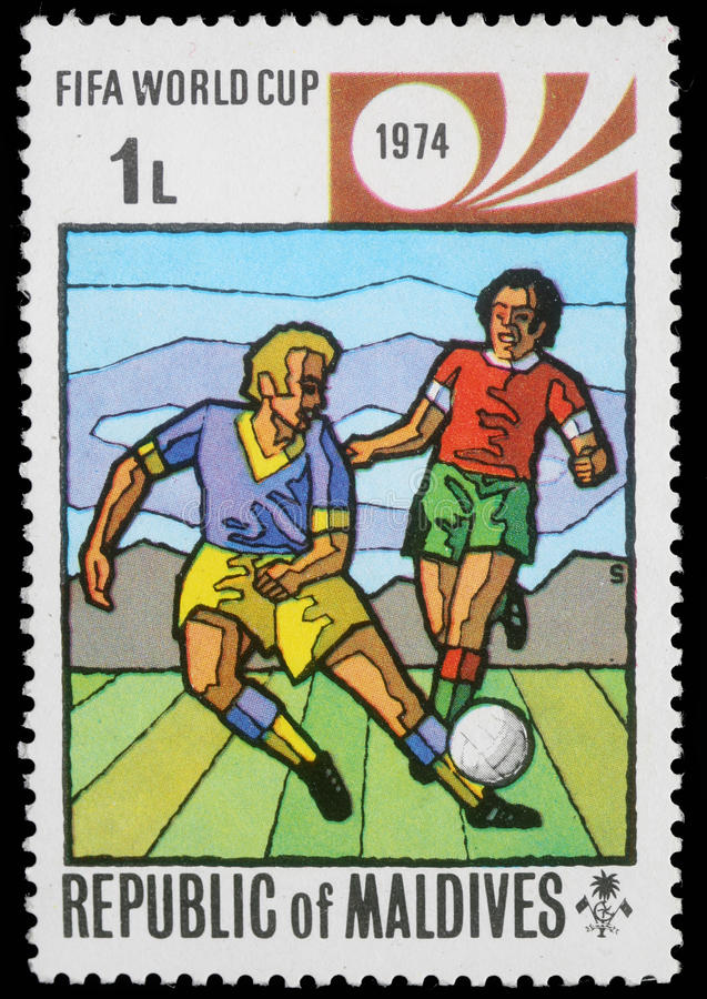 马尔代夫打印的邮票,展示国际足球联合会世界杯 库存照片