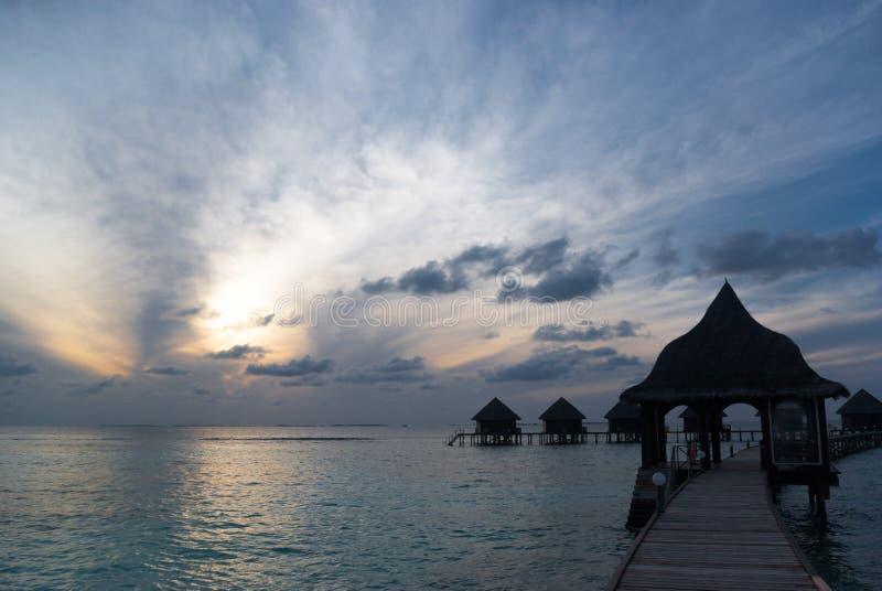 马尔代夫日落 免版税库存照片