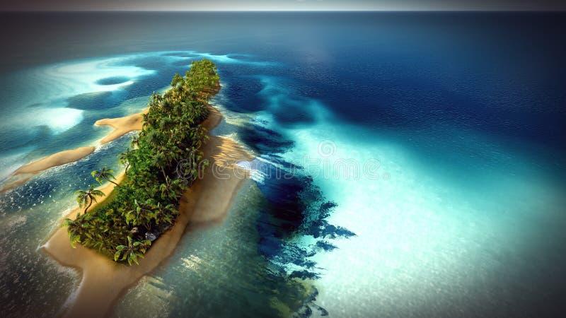 马尔代夫环礁的小热带海岛从鸟瞰图3d翻译 库存照片