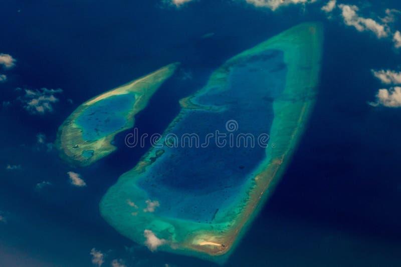 马尔代夫鸟瞰图风景全景 免版税图库摄影