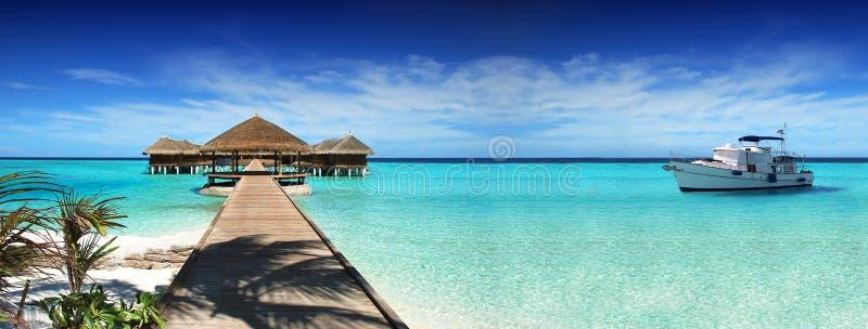 马尔代夫,梦想旅行,美好,晴朗,异乎寻常的假期 基于游艇 免版税库存图片