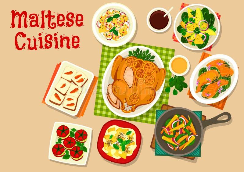 马尔他菜单设计的烹调健康食物象 库存例证