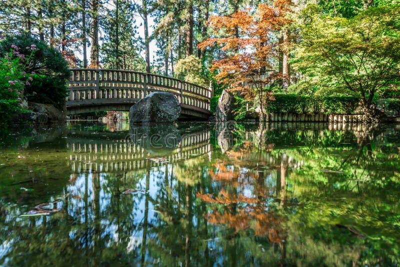 马尼托公园的美丽的日本庭院在斯波肯,Washingon 免版税库存图片