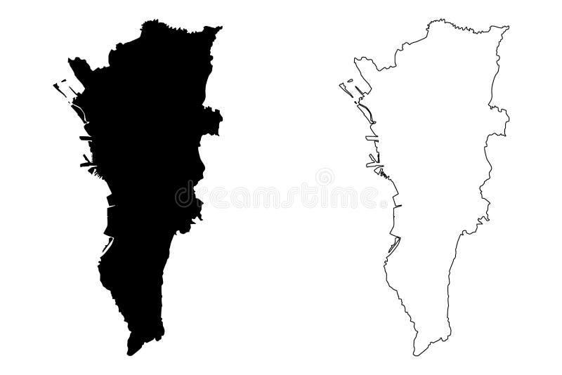 马尼拉大都会地图传染媒介 皇族释放例证