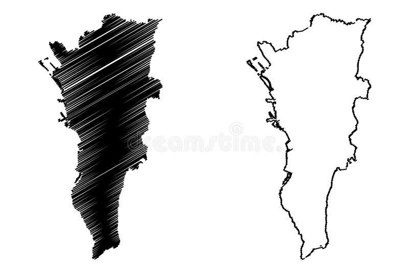 马尼拉大都会地图传染媒介 库存例证
