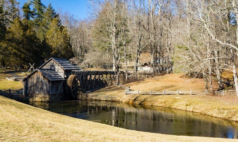 马布里磨房,蓝岭山行车通道,弗吉尼亚冬天视图  免版税库存照片