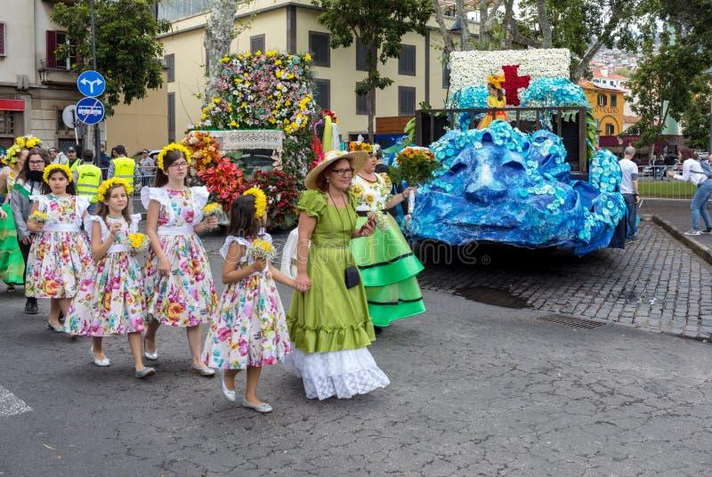 马德拉岛花节日,丰沙尔,马德拉岛, Portu 免版税库存图片