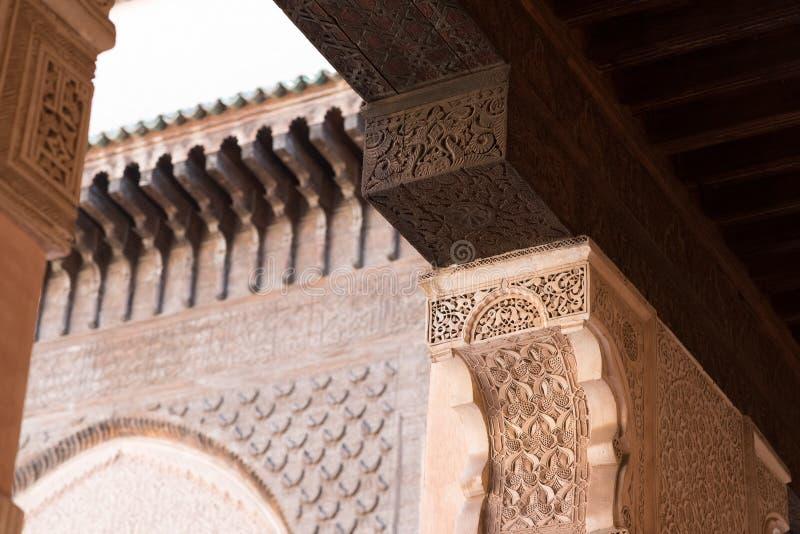 马德拉斯本优素福,马拉喀什,摩洛哥 库存图片