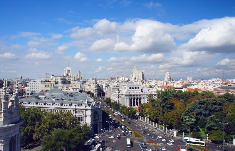 马德里地平线视图 免版税库存照片