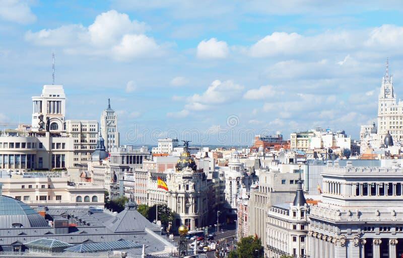 马德里地平线视图 免版税库存图片