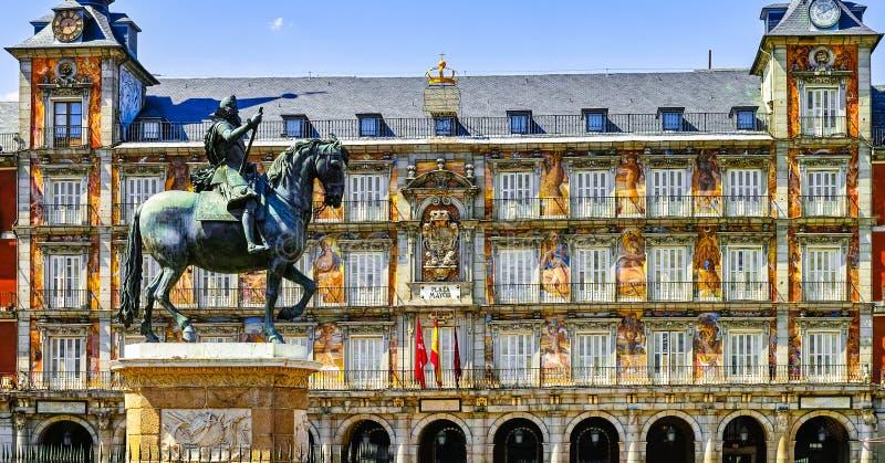 马德里市长广场 免版税库存照片