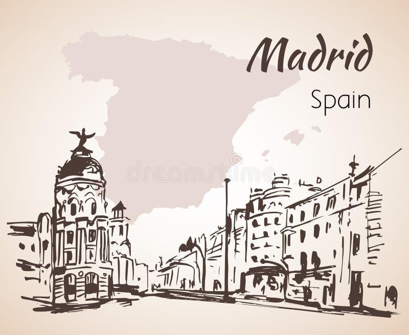 马德里手拉的街道 西班牙 向量例证