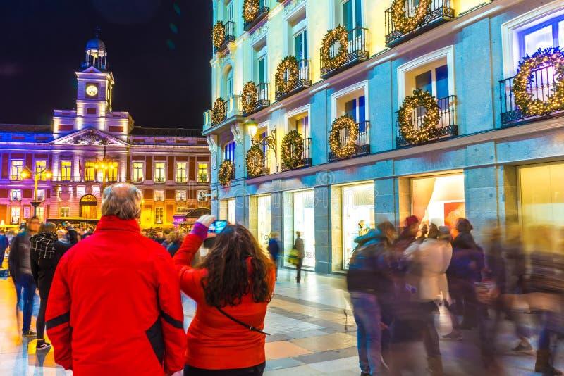 马德里的太阳门夜景 免版税图库摄影