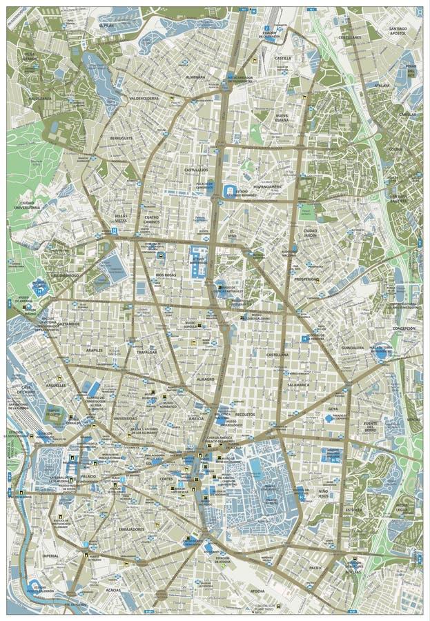 马德里街道地图 库存例证