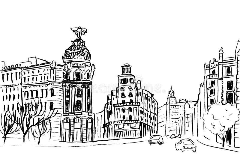 马德里,西班牙的首都 向量例证