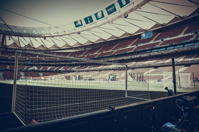马德里,西班牙- 2019年5月01日:在yhe体育场的橄榄球门在FC利物浦之间的欧洲联赛冠军杯2019决赛期间 库存照片
