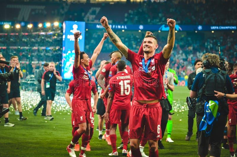 马德里,西班牙- 2019年5月01日:德扬・洛夫伦庆祝他们赢得在决赛以后的欧洲联赛冠军杯2019年反对 图库摄影