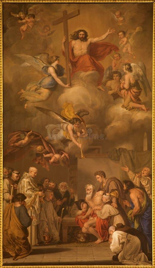 马德里-在主要法坛的油漆在教会圣真正的Jeronimo el里 库存照片