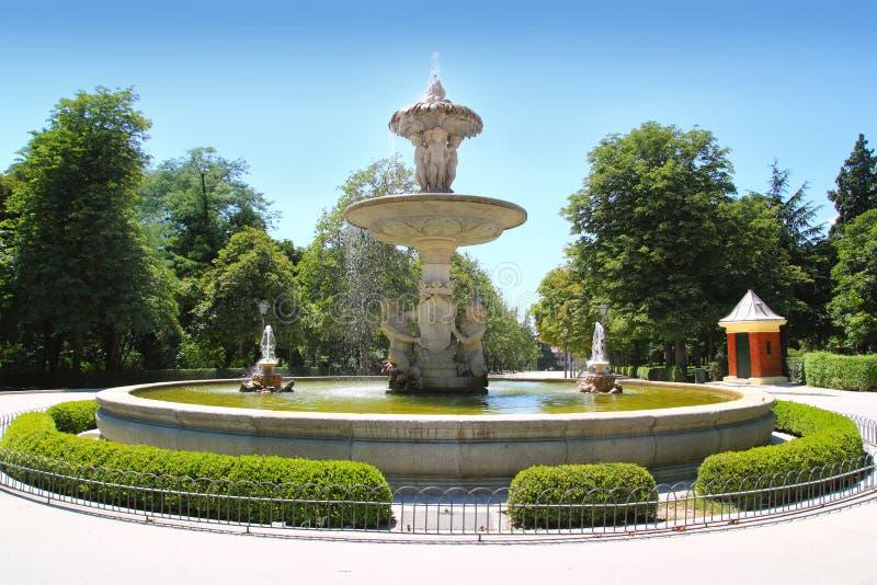 马德里fuente de Alcachofa在Retiro公园 免版税库存图片