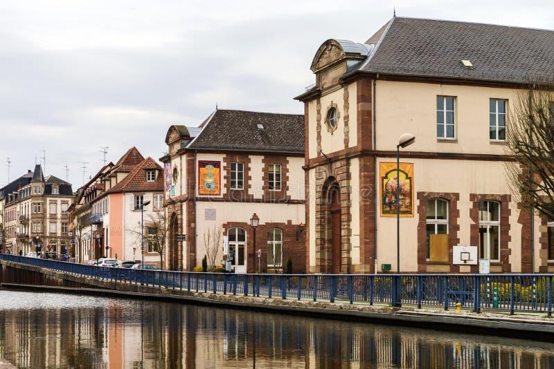 马恩省Rhin运河视图在Saverne,法国 图库摄影