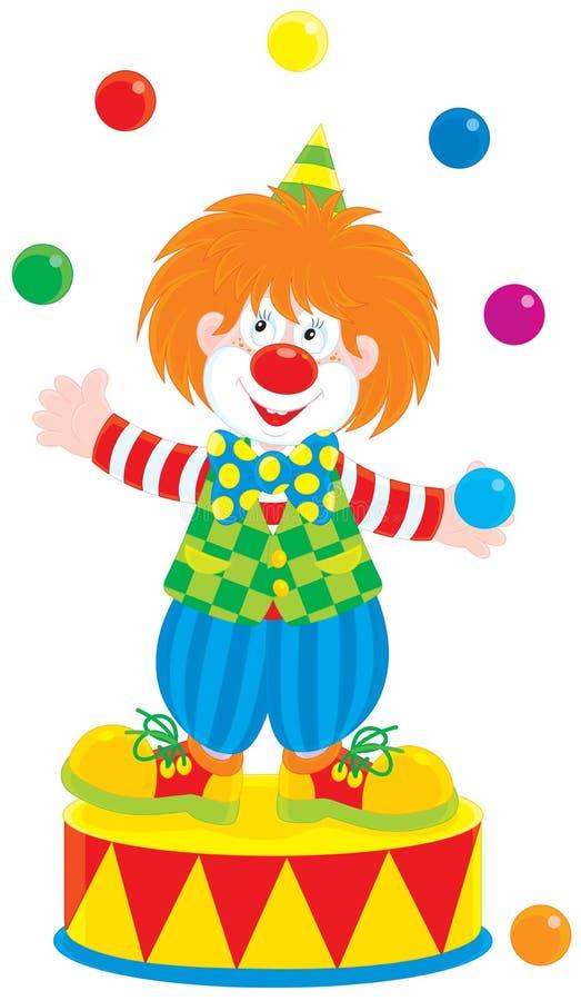 马戏团小丑变戏法者 向量例证