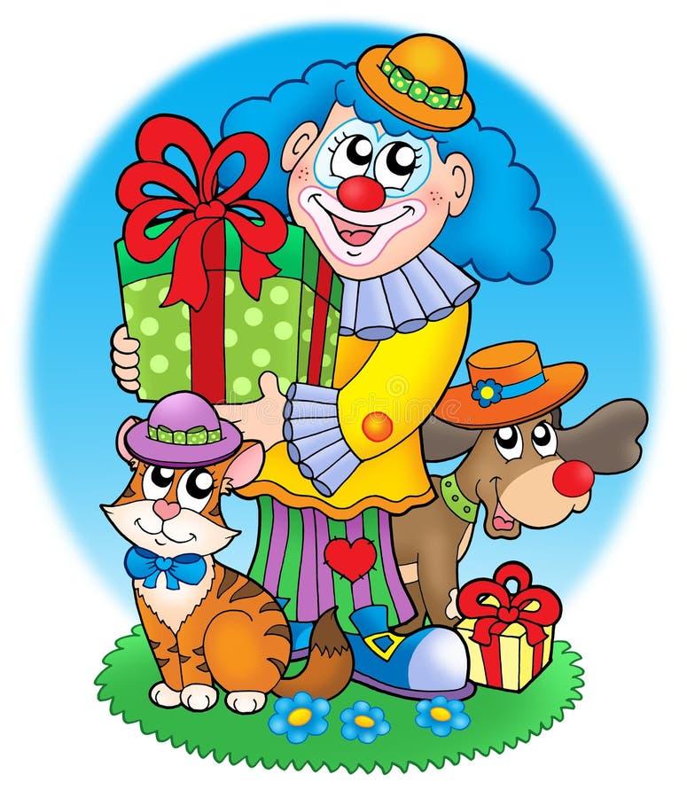 马戏团小丑宠物 向量例证