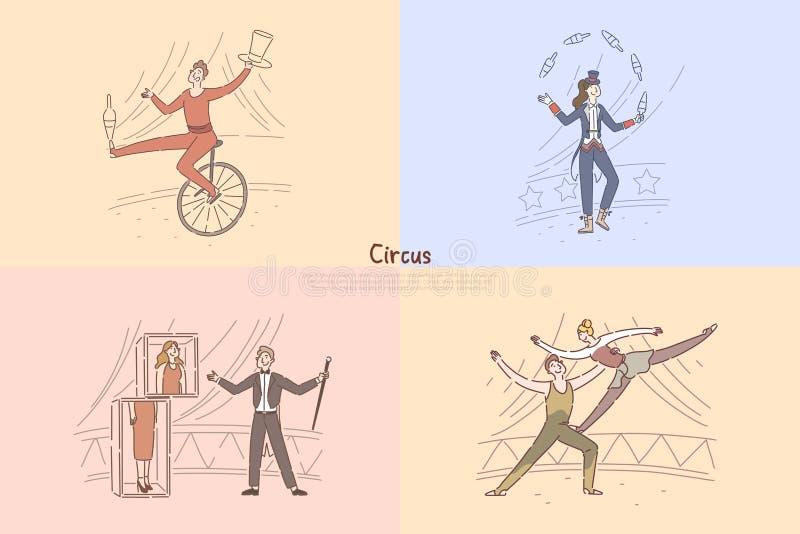 马戏团演员在竞技场,显示魔术技巧,变戏法者骑马单轮脚踏车,杂技演员的魔术师行使横幅 向量例证