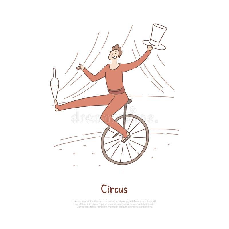 马戏团演员,显示把戏,变戏法者,杂技演员平衡,乘坐的单轮脚踏车横幅的狂欢节服装的演员 皇族释放例证
