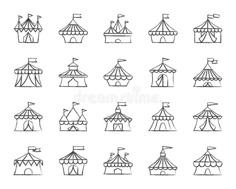 马戏场帐篷木炭凹道线象传染媒介集合 皇族释放例证