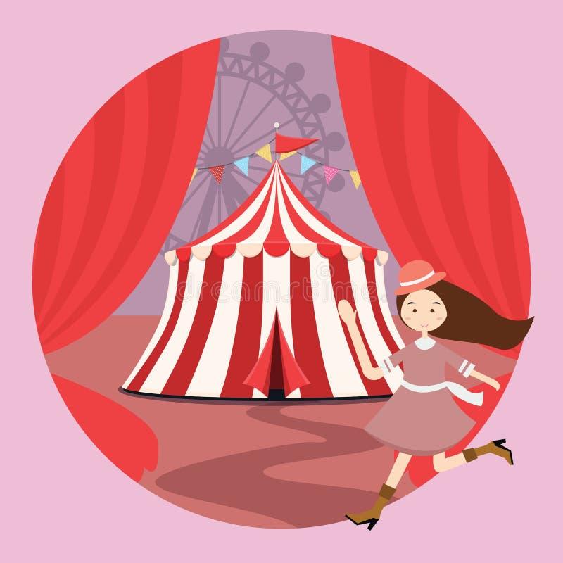 马戏场帐篷游乐园孩子女孩孩子打开帷幕 库存例证