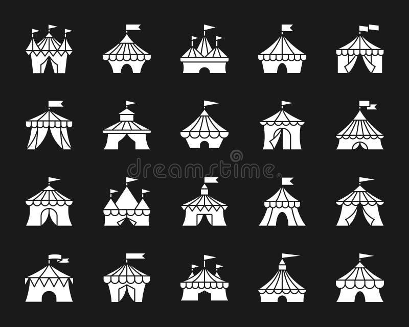 马戏场帐篷白色剪影象传染媒介集合 向量例证