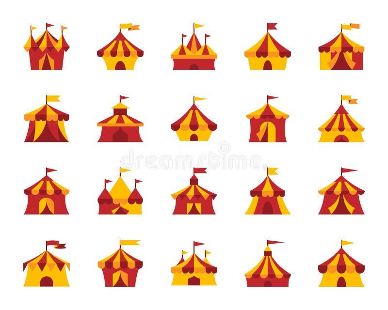 马戏场帐篷简单的平的颜色象传染媒介集合 库存例证