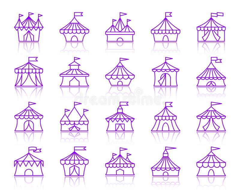 马戏场帐篷简单的种族分界线象传染媒介集合 向量例证
