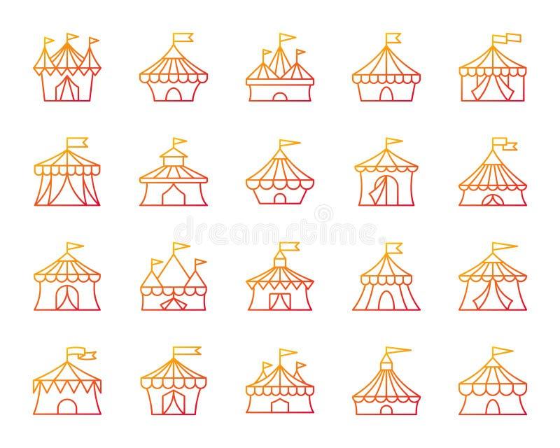 马戏场帐篷简单的种族分界线象传染媒介集合 皇族释放例证