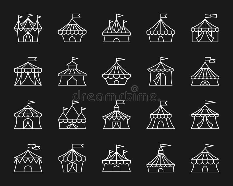 马戏场帐篷简单的空白线路象传染媒介集合 库存例证