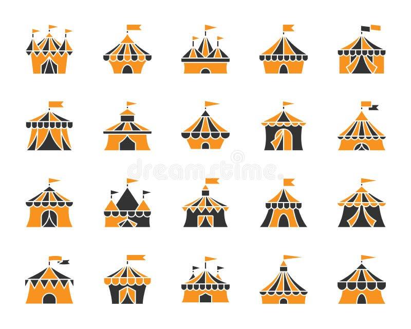 马戏场帐篷简单的颜色平的象传染媒介集合 向量例证