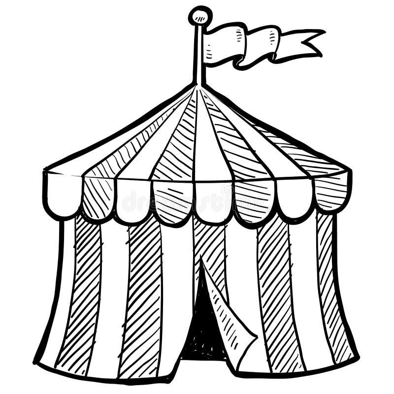 马戏场帐篷草图 库存例证