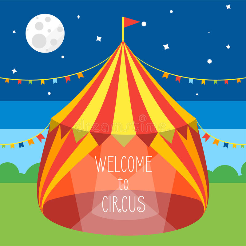 马戏场帐篷邀请卡片 向量 库存例证