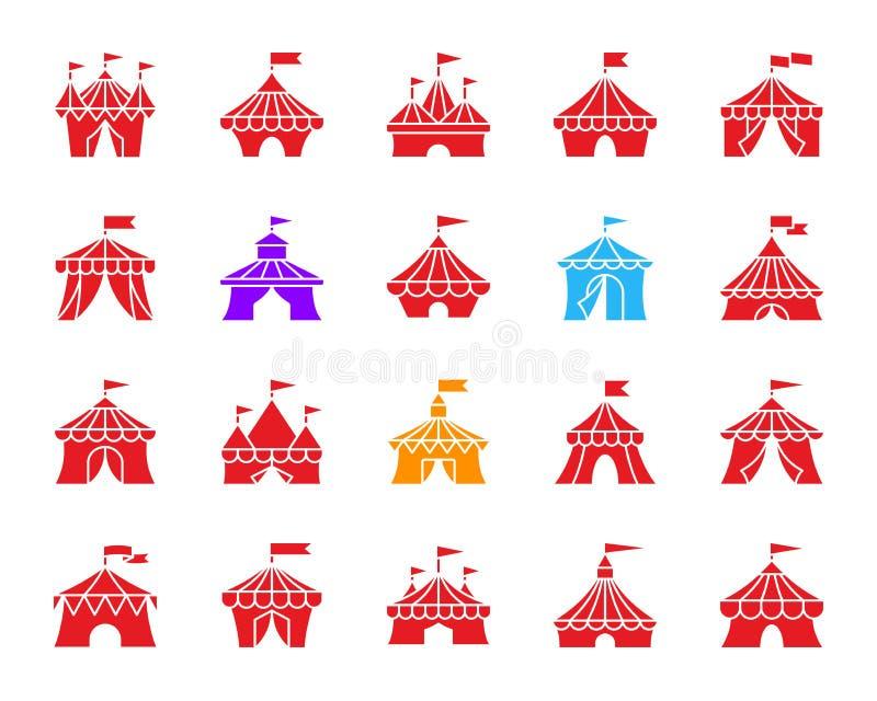 马戏场帐篷颜色剪影象传染媒介集合 向量例证
