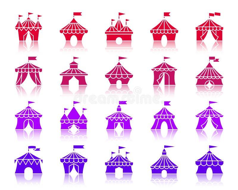 马戏场帐篷颜色剪影象传染媒介集合 皇族释放例证
