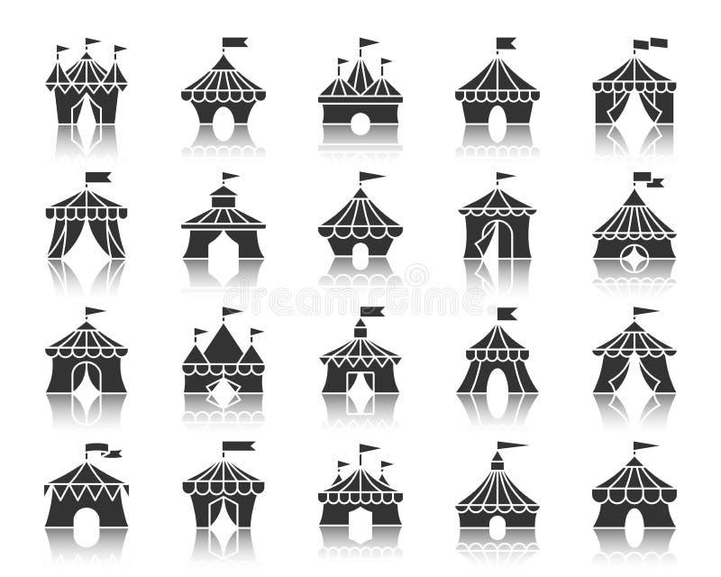 马戏场帐篷黑色剪影象传染媒介集合 向量例证