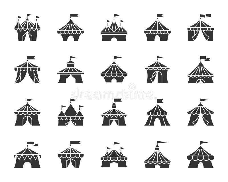 马戏场帐篷黑色纵的沟纹象传染媒介集合 库存例证