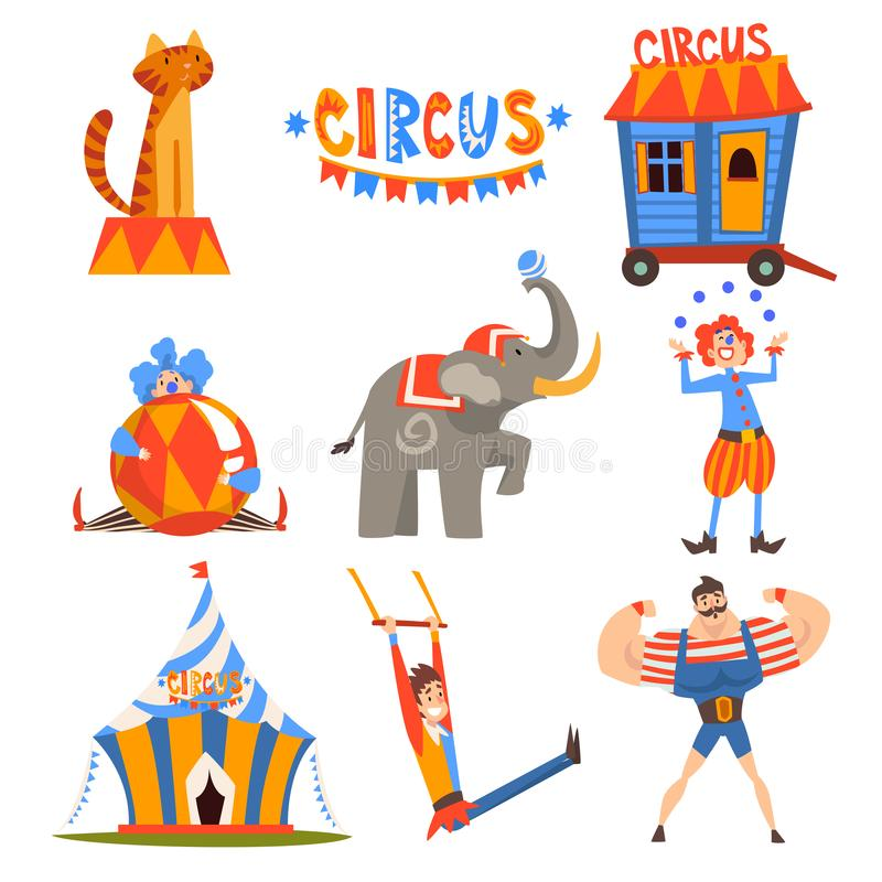 马戏字符的汇集,玩杂耍的小丑,动物,大力士,执行在马戏展示传染媒介的空中体操运动员 向量例证