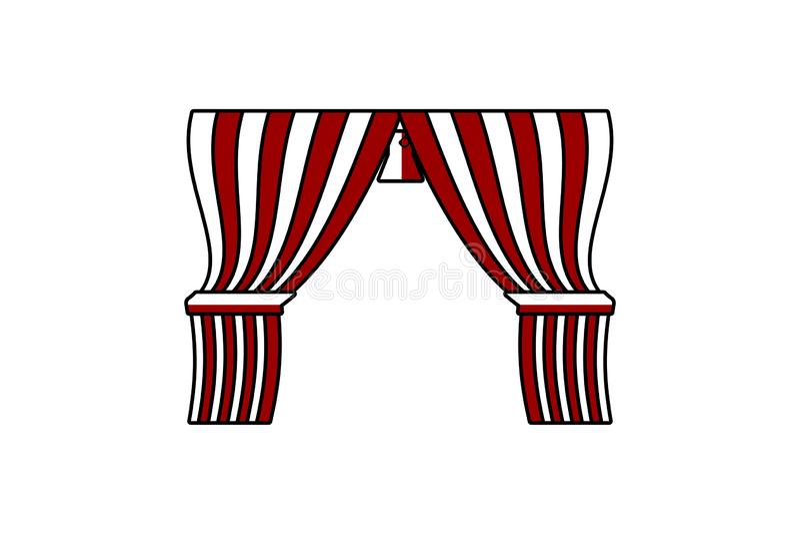 马戏帷幕商标设计在白色背景隔绝的启发 库存例证