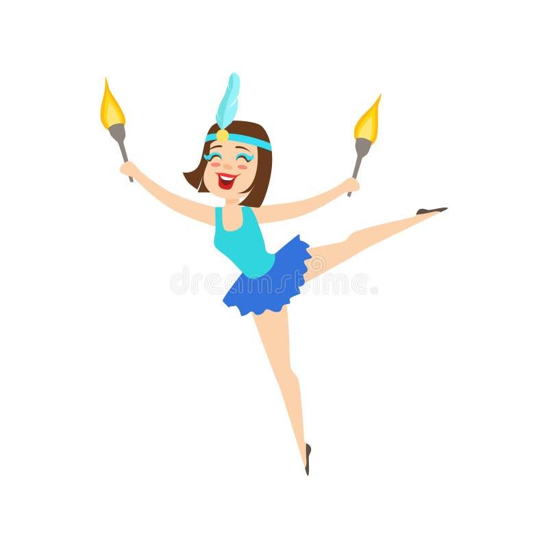 马戏执行杂技舞蹈的蓝色芭蕾舞短裙艺术家的女孩体操运动员与马戏展示的灼烧的火炬 库存例证