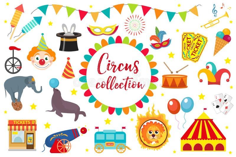 马戏收藏,平,动画片样式 设置被隔绝在白色背景 与大象,帐篷,狮子,海狮,枪的成套工具 皇族释放例证